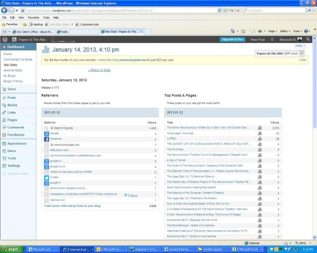 Here is a screenshot view of the stats page for January 12th.