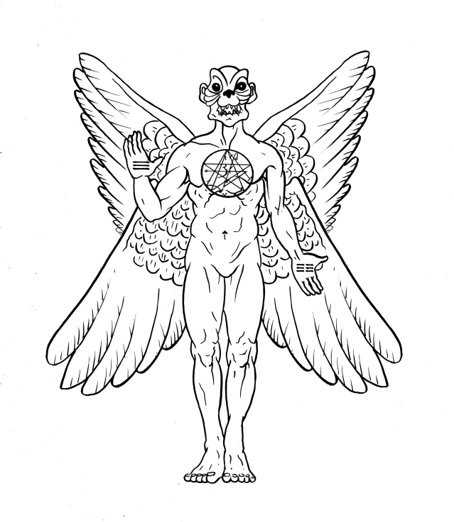 Pazuzu, the shadowside of Ninazu-The original practioner of the Art of NinzuwuThe Race of the Anzu Bird, known in Japan as the Tengu. (Illustrated by Bartolomeo Argentino)
