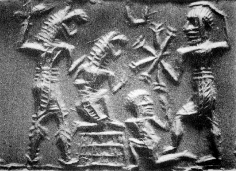 Dumuzi seeking help from the sun god Utu, while being attacked by the gallu.